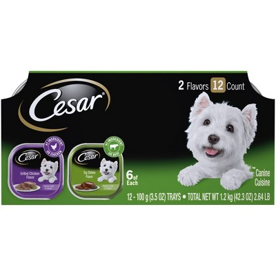Cesar Classic Loaf in Sauce Wet Dog Food Grilled Chicken & Top Sirloin Flavors - 3.5oz/12ct Variety Pack