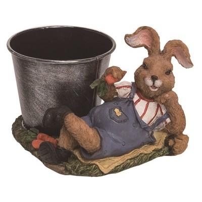 Transpac Resin 5 in. Brown Easter Bunny Garden Egg Holder Figurine