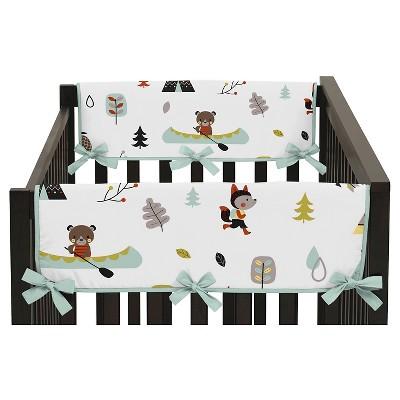 Sweet Jojo Designs Outdoor Adventure Side Crib Rail Guard Covers (Set of 2)- Aqua