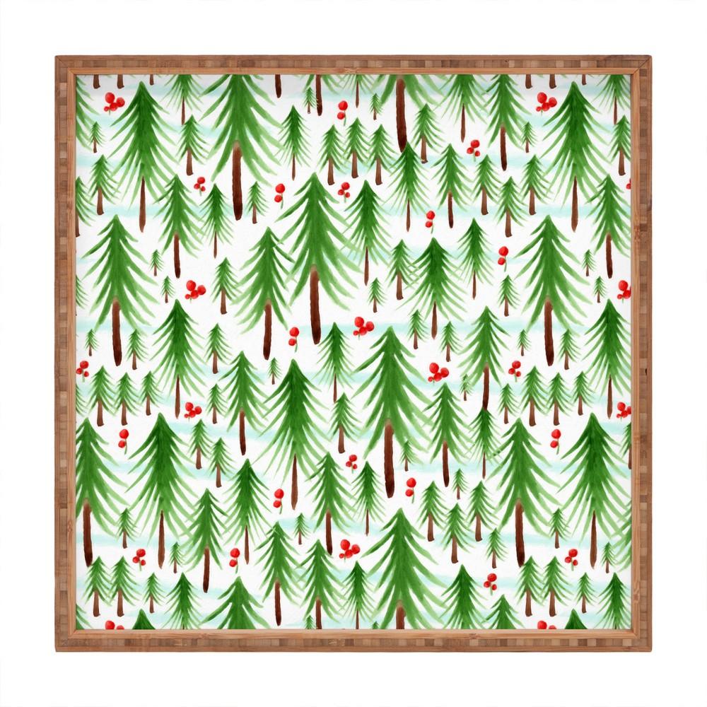 Heather Dutton Christmas Tree Farm Tray (16) - Deny Designs, Green Red