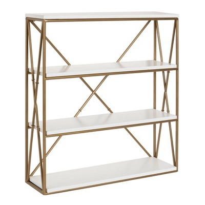 "24.2"" x 22"" Ascencio Four-Tier Wood and Metal Wall Shelf White/Gold - Kate & Laurel All Things Decor"