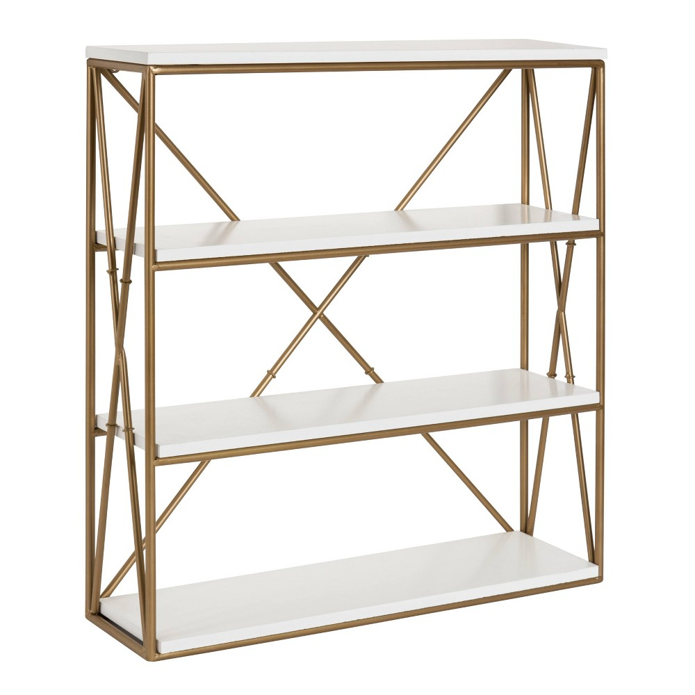 """Image of """"24.2"""""""" x 22"""""""" Ascencio Four-Tier Wood and Metal Wall Shelf White/Gold - Kate & Laurel All Things Decor, Gold White"""""""