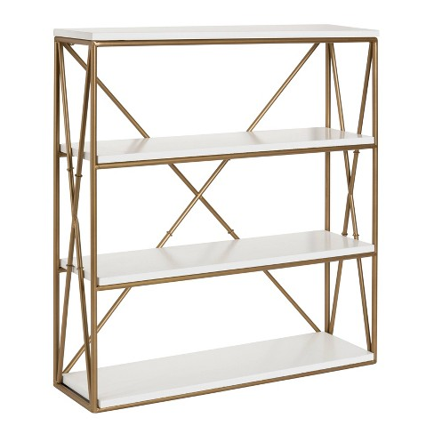 """24.2"""" x 22"""" Ascencio Four-Tier Wood and Metal Wall Shelf White/Gold - Kate & Laurel All Things Decor - image 1 of 4"""