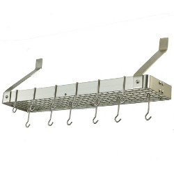 Old Dutch International Satin Nickel Wall-Mount Bookshelf Pot Rack with Grid and 12 Hooks