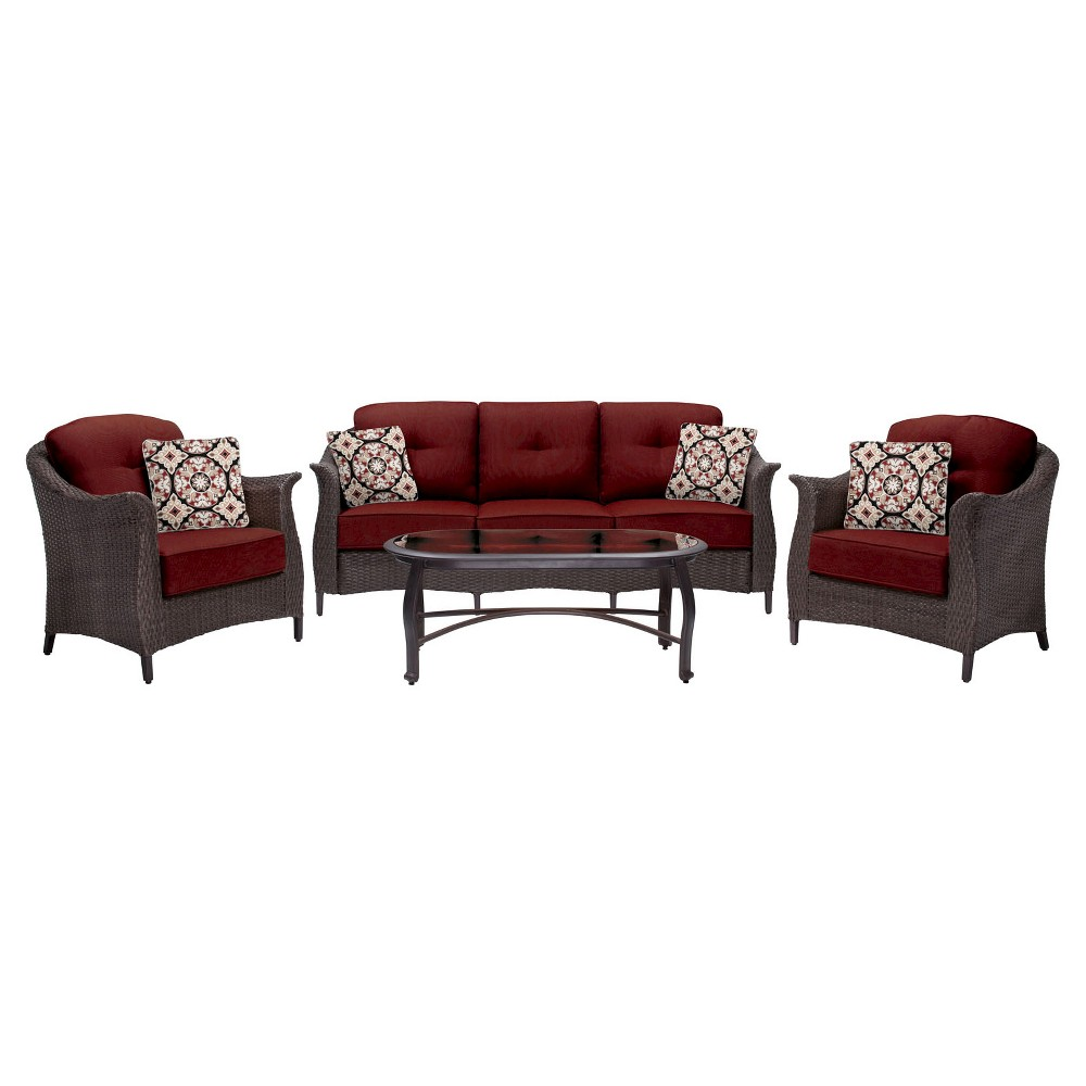 Image of 4pc Patio Seating Set Hanover, Red