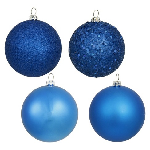 12ct Blue Assorted Finishes Ball Shatterproof Christmas Ornament Set - image 1 of 1