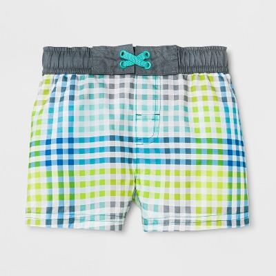 Baby Boys' Gingham Swim Trunks - Cat & Jack™ Gray 9M