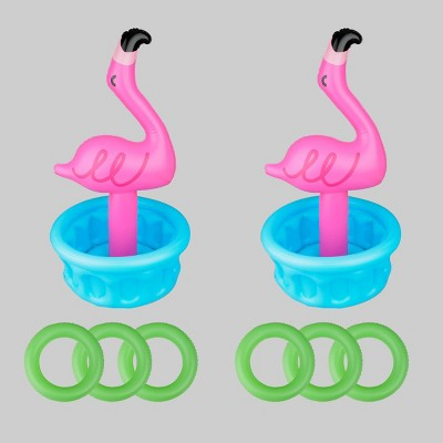 2ct Inflatable Flamingo Ring Toss Lawn Game Set - Bullseye's Playground™