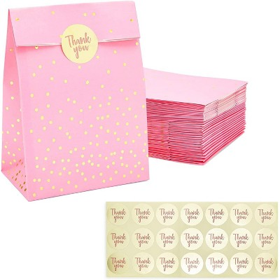 """Sparkle and Bash 36-Pack Pink Gift Bags, Party Favors Bags with Gold """"Thank You"""" Stickers (5.15 x 8.6 in)"""