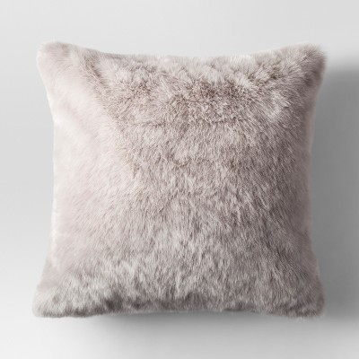 Light Gray Faux Fur Oversized Throw Pillow - Threshold™