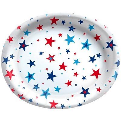 "10ct 10""x12"" Oval Platter Multi Stars Red White Blue - Sun Squad™"