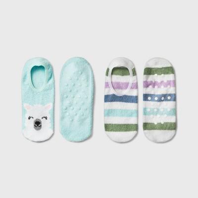 Women's Llama Cozy 2pk Liner Socks - Teal 4-10