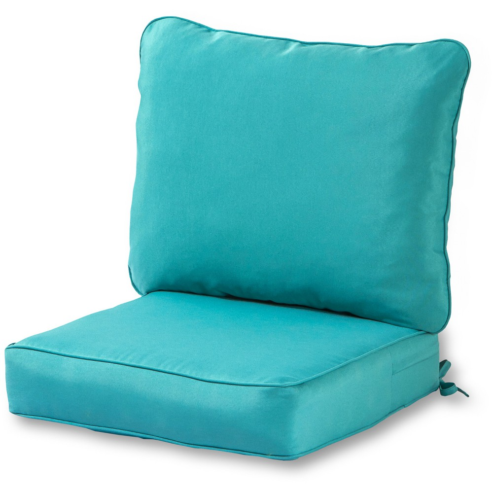 Image of 2pc Outdoor Deep Seat Cushion Set - Teal (Blue) - Greendale Home Fashions