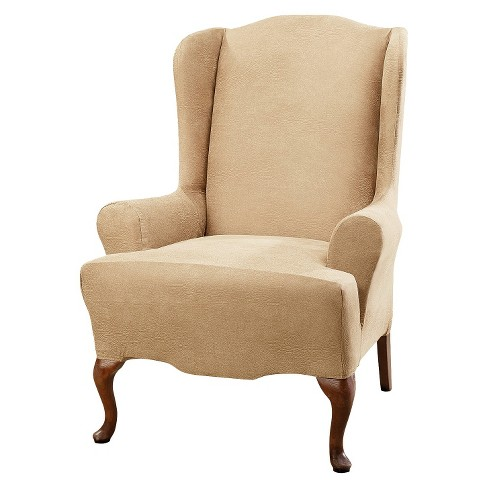 Camel Stretch Leather Wing Chair Slipcover - Sure Fit® - image 1 of 2