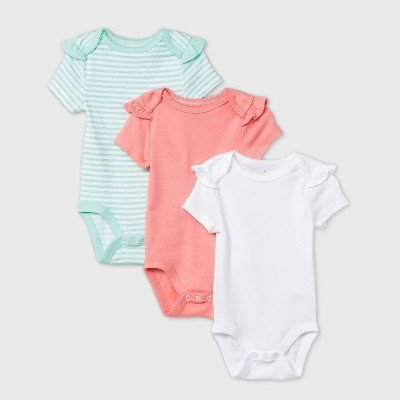 Baby Girls' 3pk Short Sleeve Basic Bodysuit - Cloud Island™ Coral