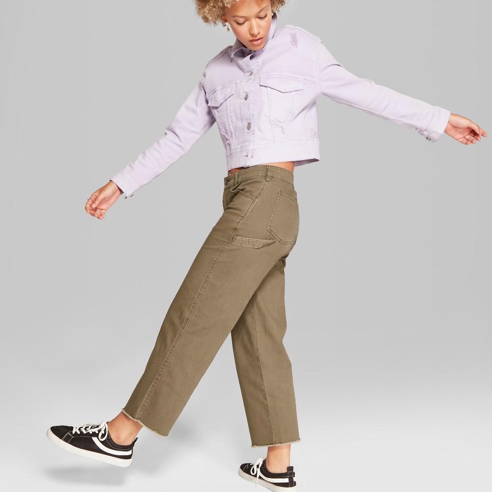 Women's Straight Leg Carpenter Pants - Wild Fable Olive 12, Green