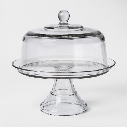 "Classic Glass Cake Stand with Dome - Thresholdâ""¢ - image 1 of 1"