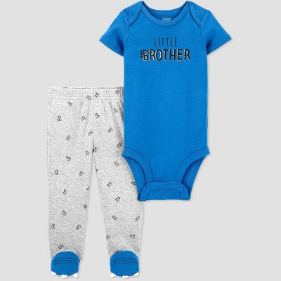 Baby Boys' 2pc Little Brother Bodysuit and Pants Set - Just One You® made by carter's Blue/Gray 3M
