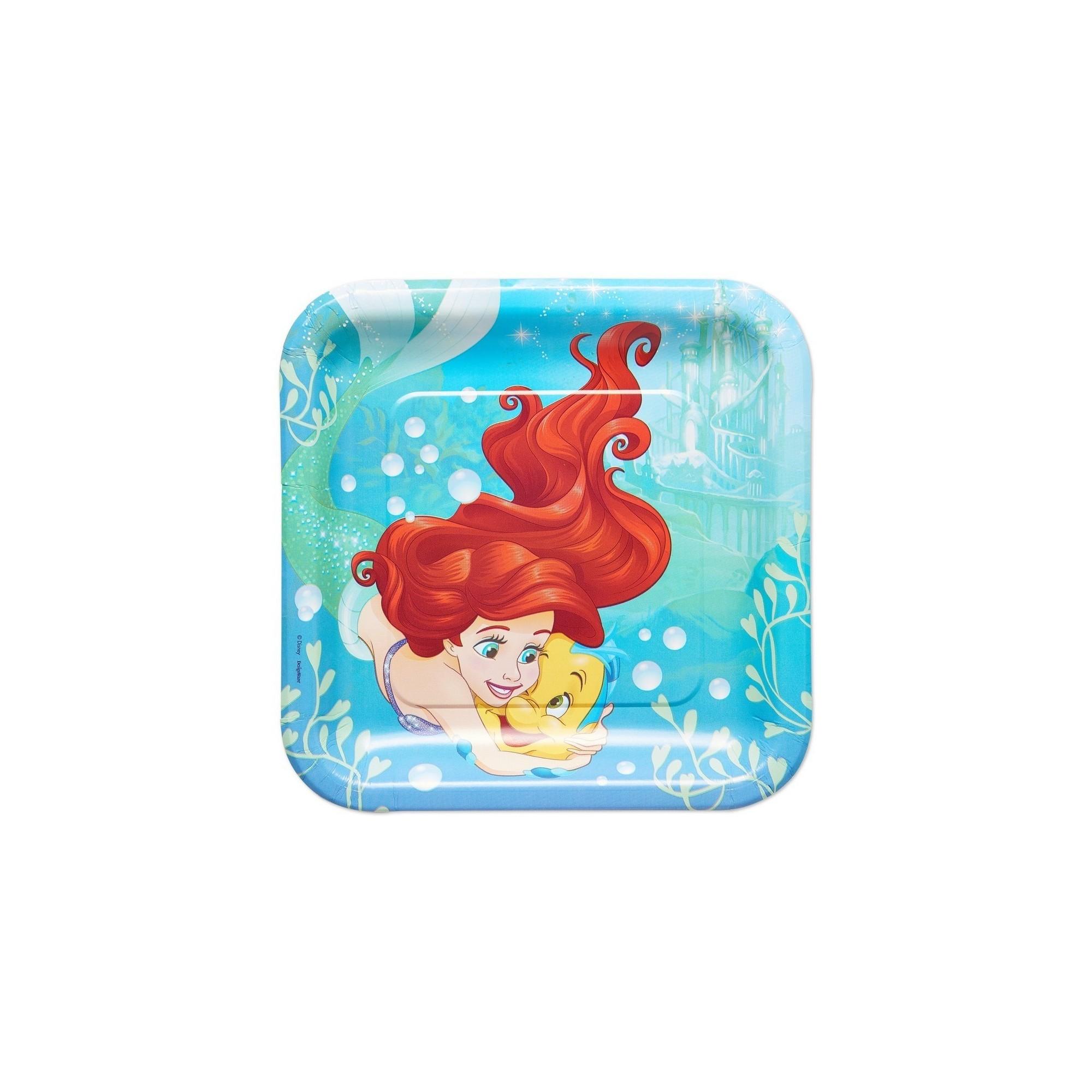 8ct The Little Mermaid Ariel Square Disposable Plates, Multi-Colored