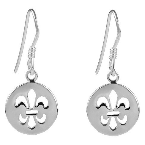 Women's Journee Collection Sterling Silver Cut-out Fleur-de-lis Dangle Earrings - Silver - image 1 of 2