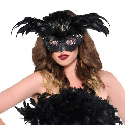 Raven Fantasy Feather Halloween Costume Mask