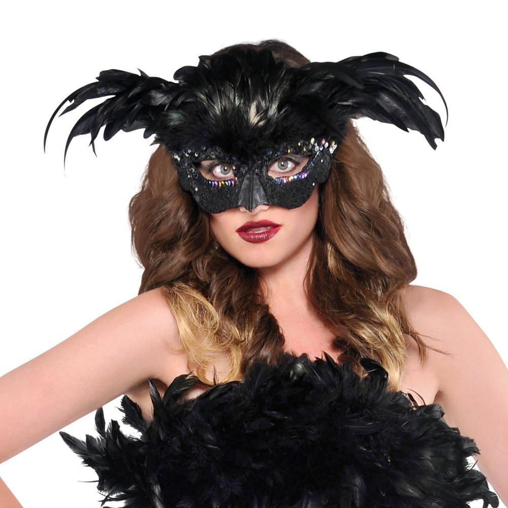 Raven Fantasy Feather Halloween Costume Mask