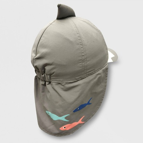 aa8229ab77f Baby Boys  Shark Baseball Hat With Neck Flap - Cat   Jack™ Gray 12-24M    Target