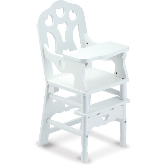 Melissa & Doug White Wooden Doll High Chair With Tray (14.75 x 25 x 14 inches) image number null