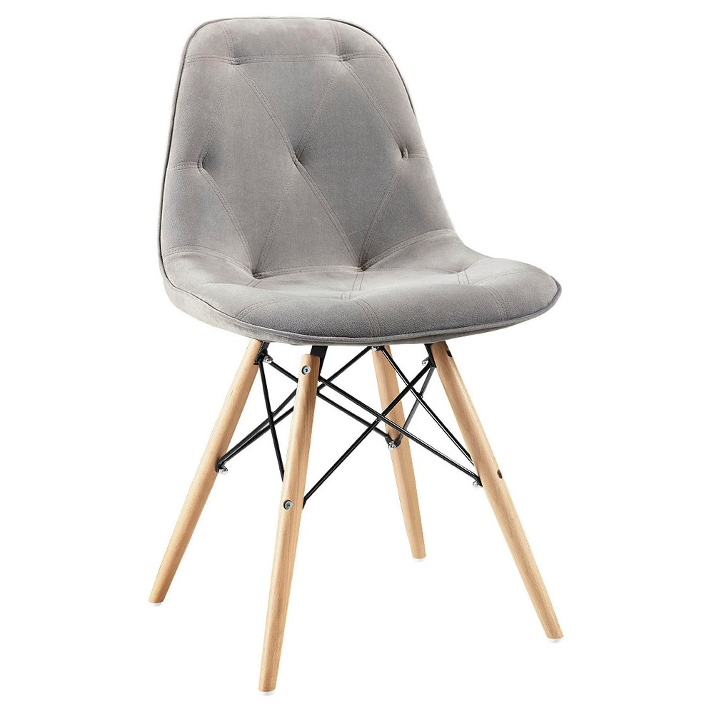 Grey Upholstered Eames Dining Kitchen Chairs - Set of 2 - Saracina Home, Gray