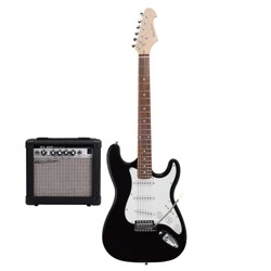 Spectrum Music Full Size Solid Body Electric Guitar Bundle with 10W Amplifier, Gig Bag, Amp Cable - Black