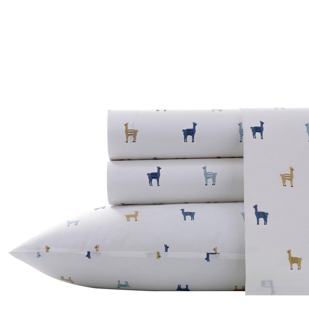 Twin Xl Printed Pattern Percale Cotton Sheet Set Llama Poppy Fritz