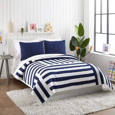 Ampersand for Makers Collective 3pc Block Stripe Quilt & Sham Set Blue