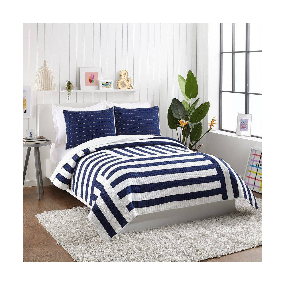 Image of Ampersand for Makers Collective Full/Queen 3pc Block Stripe Quilt & Sham Set Blue