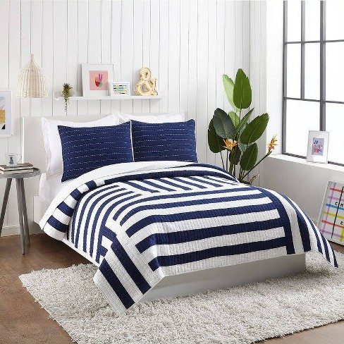 Ampersand for Makers Collective 3pc Block Stripe Quilt & Sham Set Blue - image 1 of 4