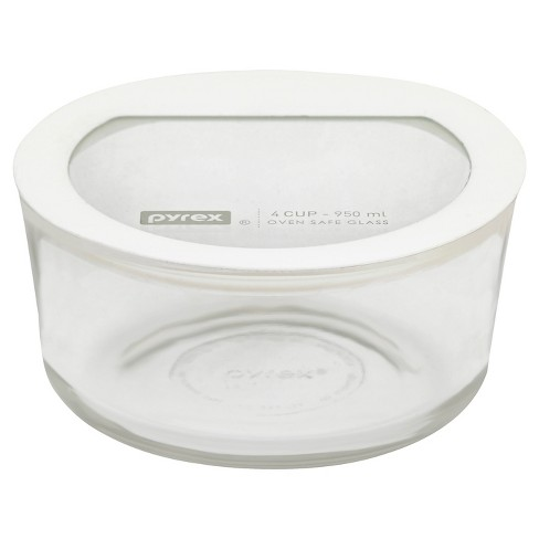 Pyrex 4 Cup Round No leak Glass Storage Container White - image 1 of 1
