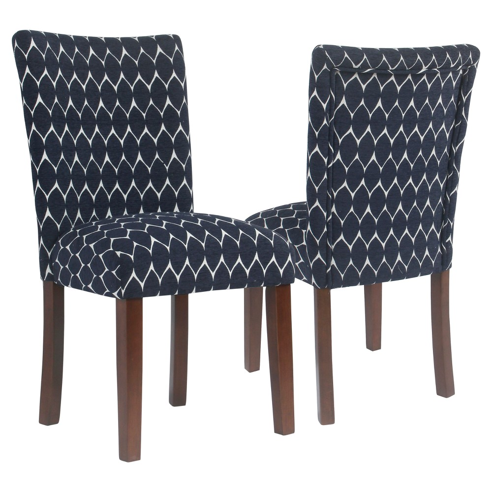 Textured Parsons Chair - Navy (Blue) (Set of 2) - HomePop