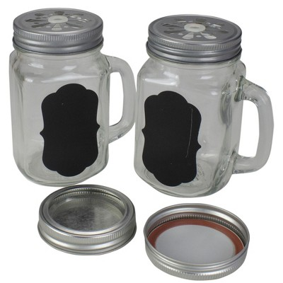 """Northlight 5.25"""" Clear Glass Shakers with Black Custom Label"""
