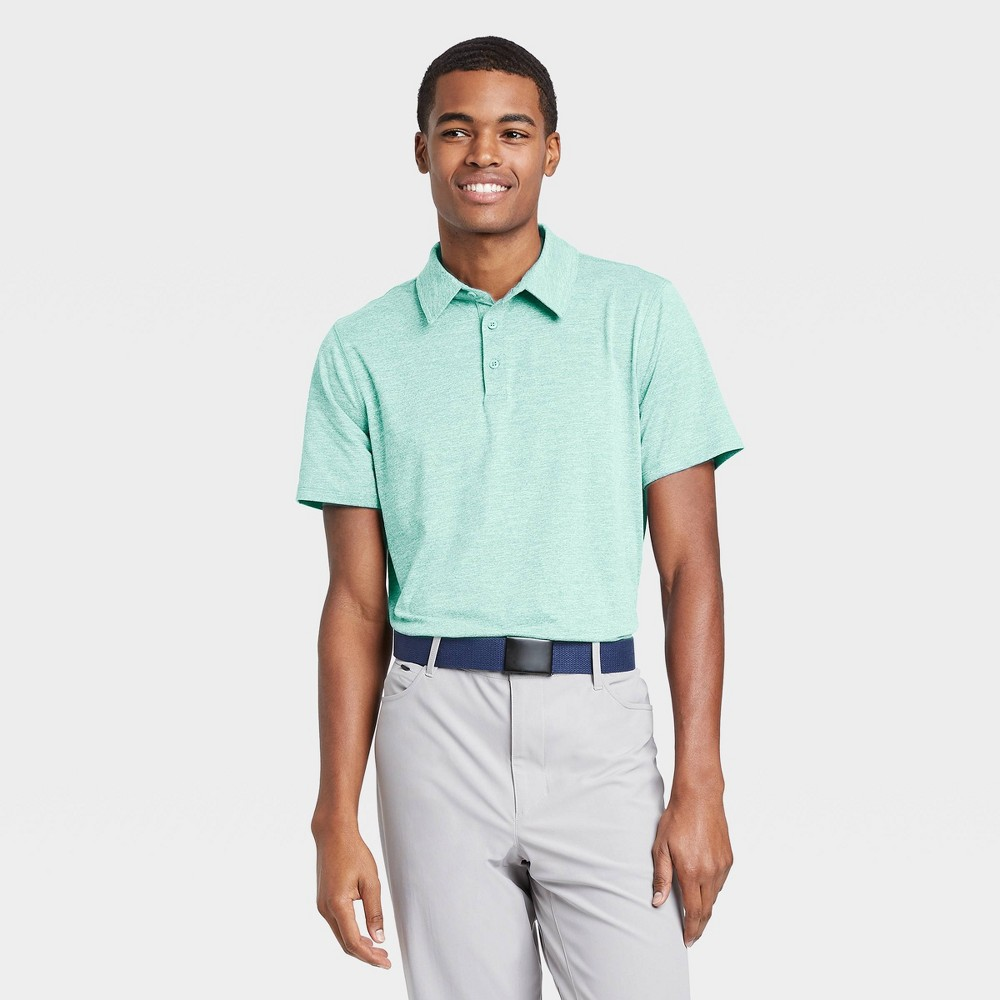 Men's Jersey Golf Polo Shirt - All in Motion Turquoise Heather L, Turquoise Grey was $20.0 now $12.0 (40.0% off)