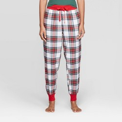 Women's Plaid Perfectly Cozy Flannel Pajama Pants - Stars Above™ Cream
