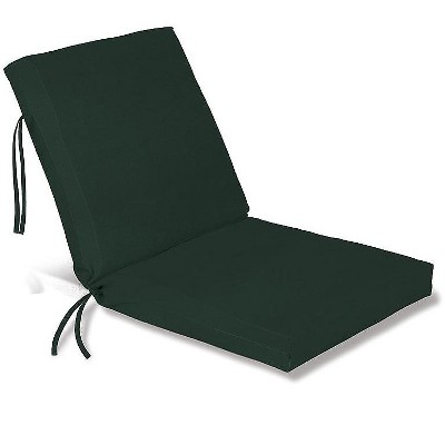 Plow & Hearth - Polyester Classic Outdoor Chair Cushion With Ties, Forest Green