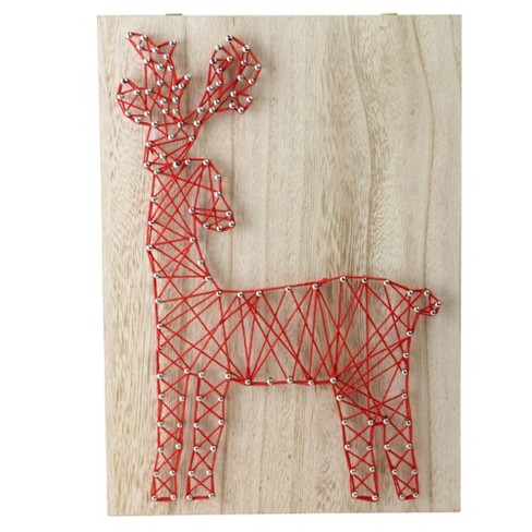 Wooden Sign Reindeer and Snowflakes Wall Hanging Wall Art Home Decor