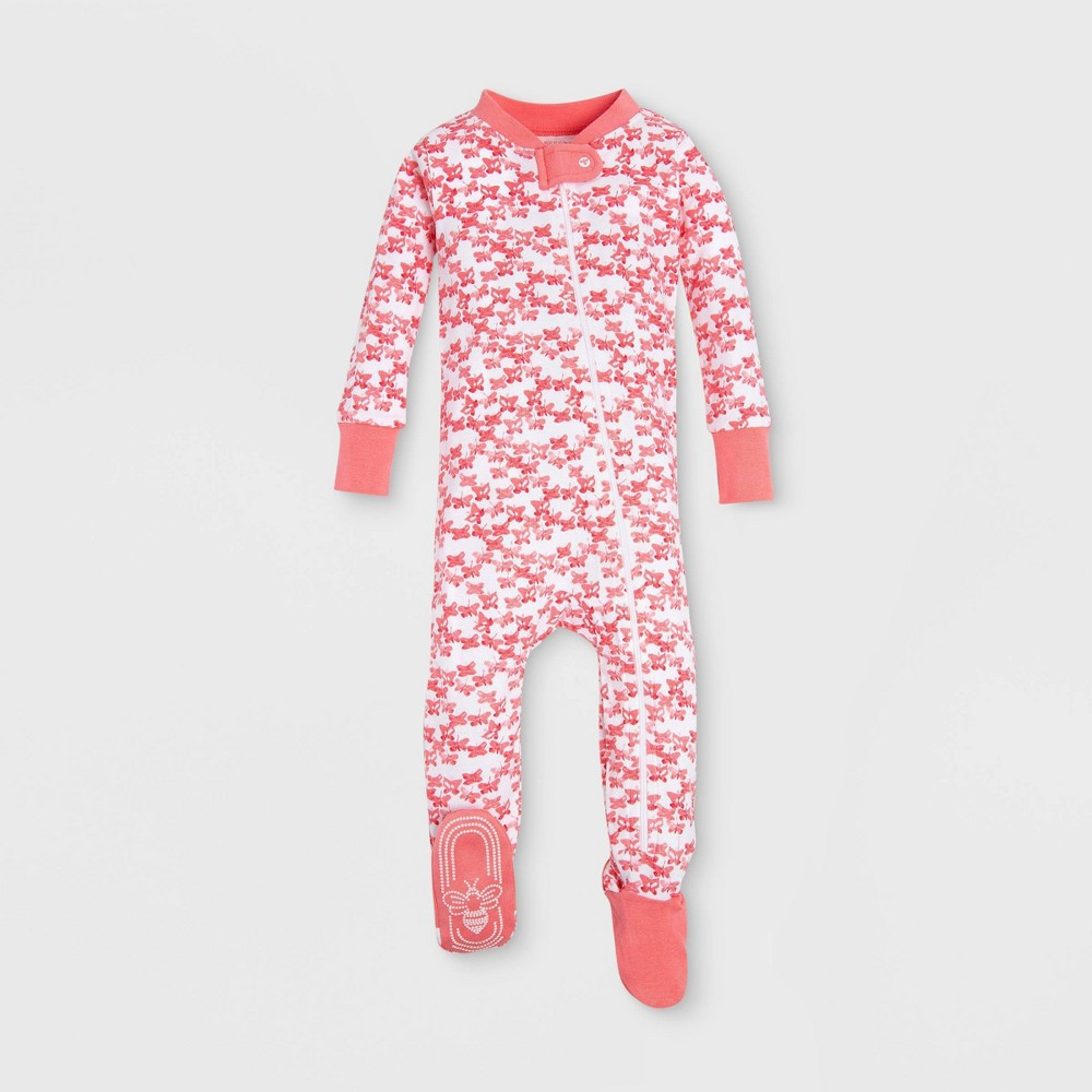 Burt's Bees Baby Baby Girls' Organic Cotton Butterfly Escape Footed Sleeper - Red 18M