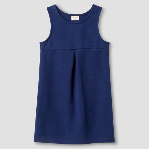 Toddler Girls' Sleeveless Ponte Knit Jumper - Cat & Jack™ Nightfall Blue 5T - image 1 of 2