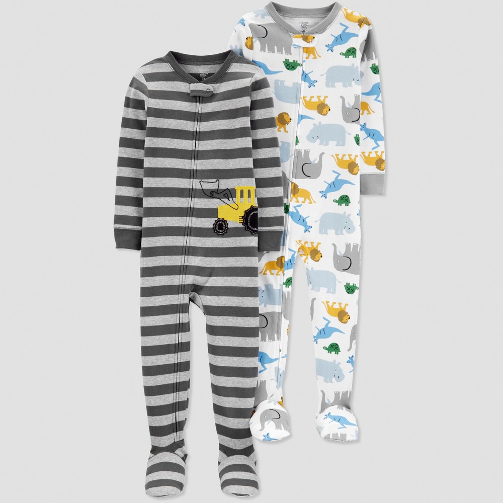 Toddler Boys' Construction One Piece Pajama - Just One You made by carter's Gray 4T