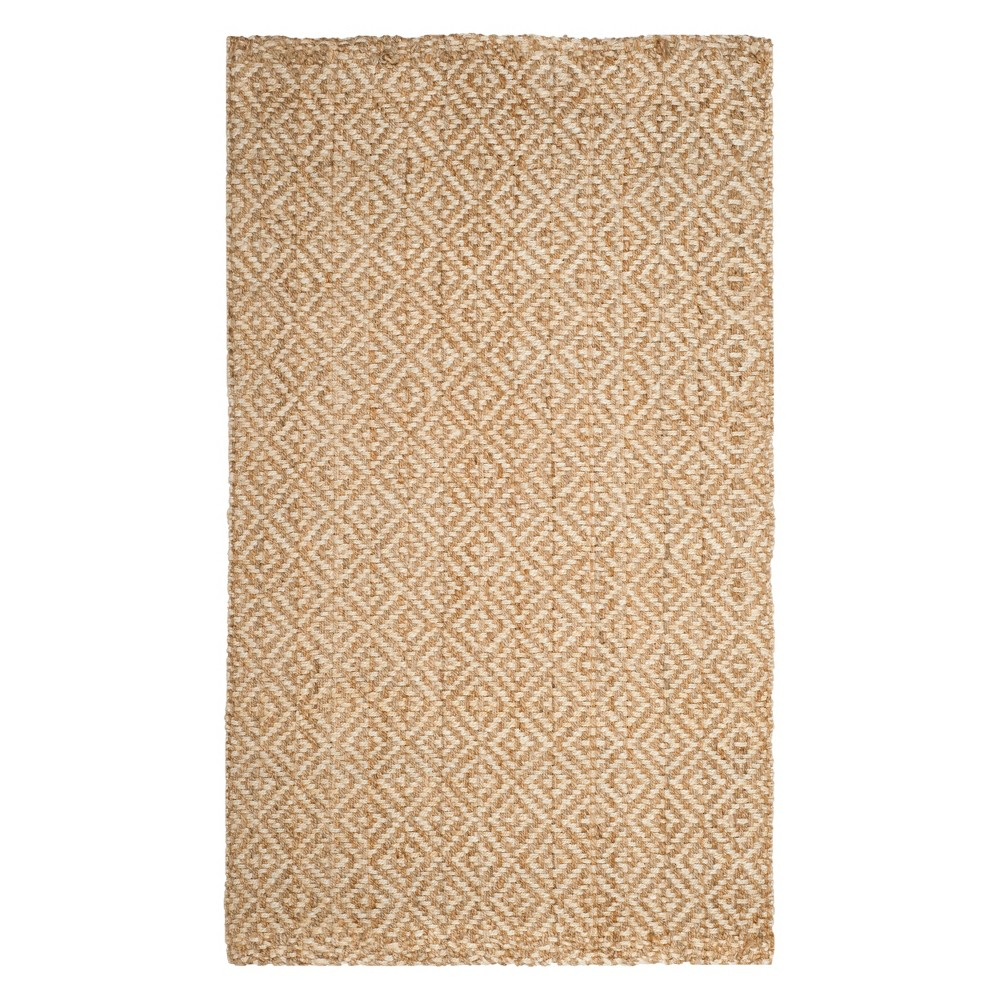 5'X8' Solid Woven Area Rug Ivory/Natural - Safavieh, White