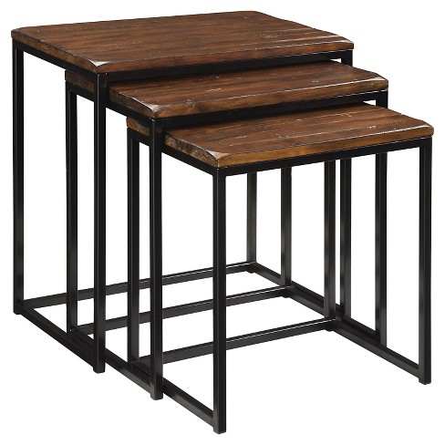 Blaisdell Nesting Tables Set Of 3 Black Brown Christopher Knight Home