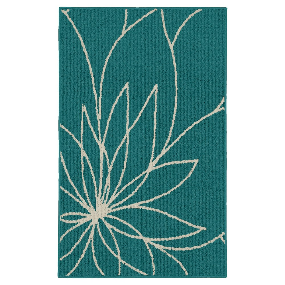 Garland Grand Floral Accent Rug - Teal/Ivory (Blue/Ivory) (2'6