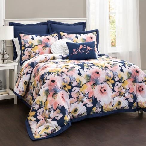 Full Queen 7pc Fl Watercolor, Target Queen Bedspread Sets