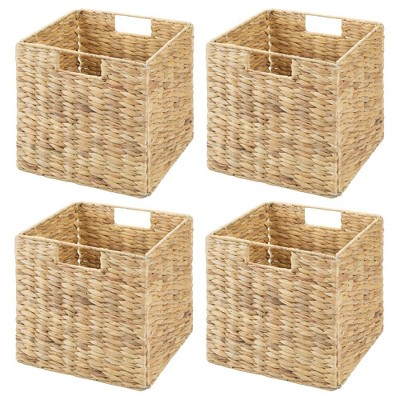 mDesign Woven Hyacinth Home Storage Basket for Cube Furniture - 4 Pack