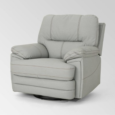 Elodie Leather Swivel Power Recliner - Christopher Knight Home